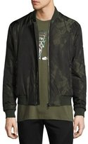 Versace Abstract-Print Bomber Jacket, Army Green