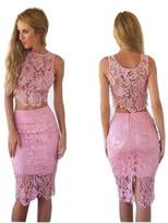 Moxeay® Sexy Sleeveless Round Neck Lace Stitching Two Piece Cocktail Party Dress (Asia M/US 4-6, )