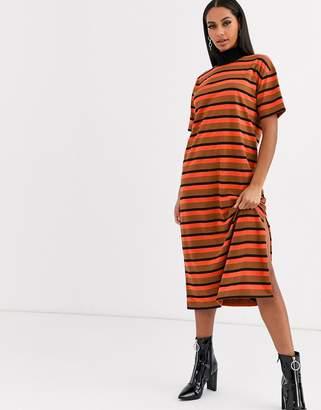 Asos Design DESIGN high neck midi t shirt dress in orange and brown stripe-Multi