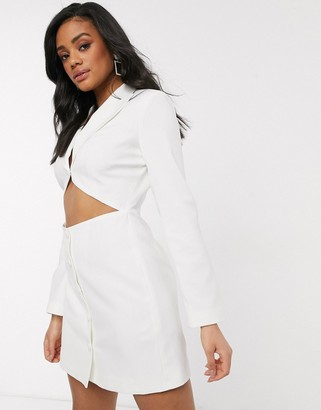 4th + Reckless cut out waist blazer dress in white