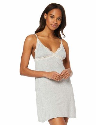 Iris & Lilly Women's Modal Spaghetti Nightgown with Lace (Heather Grey) L (US 10)