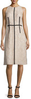 Carmen Marc Valvo Sleeveless Lace Sheath Dress W/ Ribbon Trim