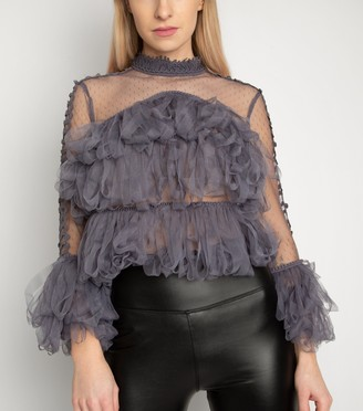 New Look Miss Attire Ruffle Loop Trim Mesh Top