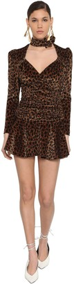 ATTICO Leopard Print Stretch Velvet Mini Dress