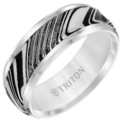 Triton 8MM White Tungsten Carbide Ring with Damascus Steel