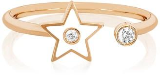Ef Collection 14K Rose Gold White Enamel & Diamond Open Star Ring - Size 6 - 0.06 ctw