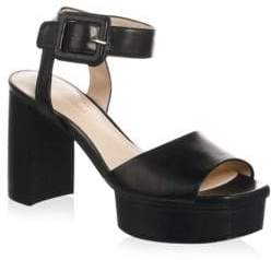 Stuart Weitzman Ankle Strap Patent Leather Platform Sandals