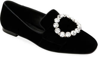Dolce & Gabbana Velvet Loafers with Jeweled Buckle