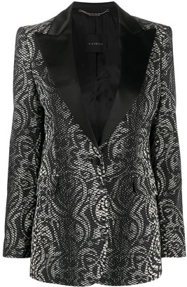 John Richmond Snakeskin Print Tuxedo Blazer
