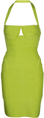 Herve Leger Neon Green Knit Halter Bandage Dress S