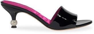 Kate Spade Dorset Embellished-Heel Patent Leather Mules