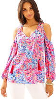 Lilly Pulitzer Finch Silk Open Shoulder Top