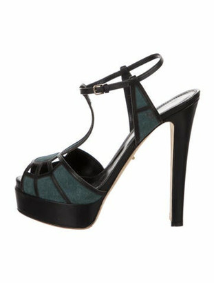 Sergio Rossi Suede T-Strap Sandals Black