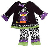 Rare Editions 3-24 Months Owl-Appliqued Halloween Dress & Zebra-Printed Leggings Set