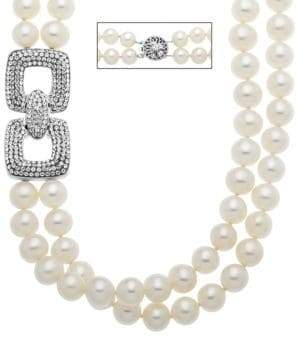 Lord & Taylor Sterling Silver Pearl and Crystal Necklace