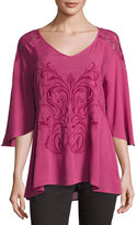 Miss Me 3/4-Sleeve Embroidered Top, Burgundy