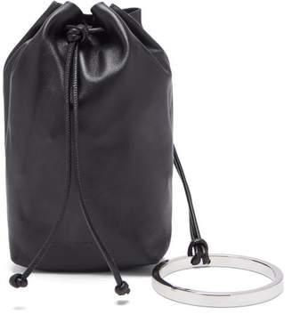 Jil Sander Bracelet-handle Drawstring Leather Pouch - Womens - Black