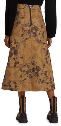 Ganni Brocade Jacquard Midi Skirt