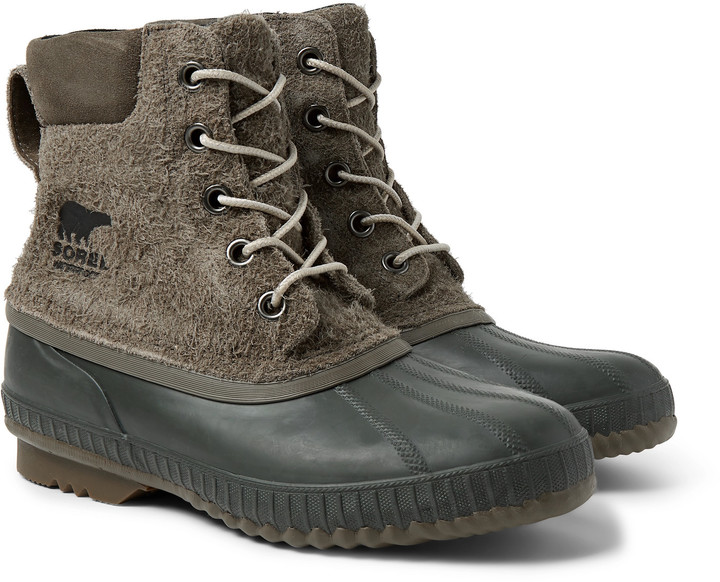 Sorel Cheyanne II Waterproof Textured-Suede and Rubber Boots - Men - Green