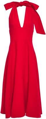 Oscar de la Renta Ruffled Wool-blend Halterneck Dress