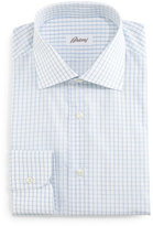 Brioni Grid-Box Check Dress Shirt, White/Blue