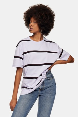 Topman Womens Lilac And Black Stripe Custom T-Shirt - Lilac
