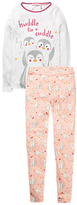 Fat Face Children's Penguin Snug Pyjamas, Pink/White