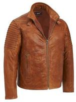 Black Rivet Mens Big & Tall Leather Moto Jacket W/ Quilted Sleeves