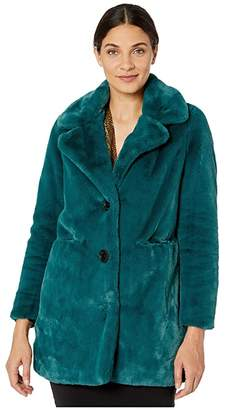 Sam Edelman Faux Fur Notch Collar Coat (Deep Green) Women's Clothing