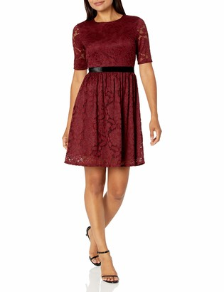 Lark & Ro Women's Half Sleeve Stretch Lace Dress