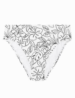 Marks and Spencer Floral Ribbed High Leg Bikini Bottoms