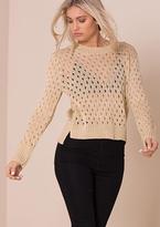 Missy Empire Paloma Gold Glitter Crochet Knitted Jumper