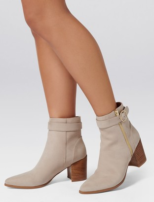 Forever New Alice Pointed Block Heel Ankle Boots - Stone - 38