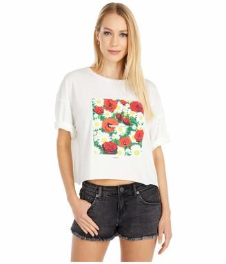 RVCA Junior's Super Bloom Short Sleeve Crew Neck Crop T-Shirt