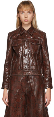 Ganni Brown Leather Snake Foil Jacket
