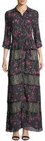 Alice + Olivia Sina Tie-Waist Paneled Floral-Print & Lace Long Dress