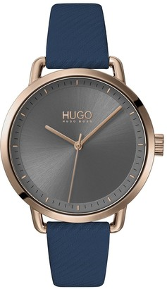 HUGO BOSS Mellow Blue Leather Strap Gold IP Case Grey Dial Ladies Watch