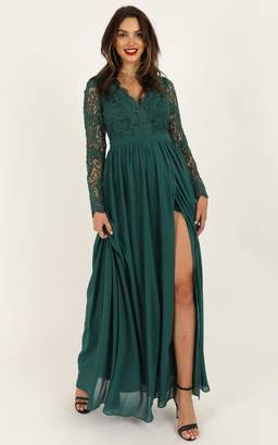 Showpo Power Up maxi dress in emerald green lace - 8 (S) Wedding Guest