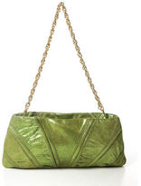 Inge Christopher Bright Green Gold Tone Chain Link Detail Clutch Handbag