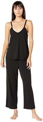 Skin Organic Cotton Calista Double Strap Cami with Shelf Bra Crop Pants Set (Black) Women's Pajama Sets