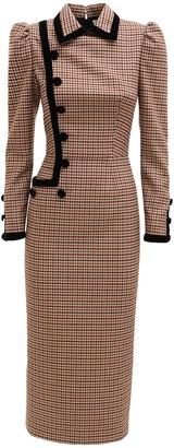 Alessandra Rich Vichy Wool Midi Dress W/ Velvet Trim