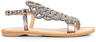 Les Tropéziennes Oggy Jewelled Leather Mix Sandals
