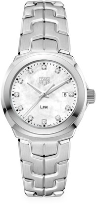Tag Heuer Link 32MM Stainless Steel, White Mother-of-Pearl & Diamond Quartz Bracelet Watch