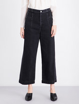 3.1 Phillip Lim Lace-up wide cropped high-rise jeans