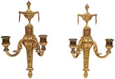 One Kings Lane Vintage Gilt Empire Wall Candle Sconces - Set of 2 - Vermilion Designs - gold/brass