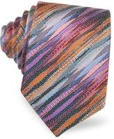 Missoni Purple & Orange Diagonal Stripe Woven Silk Narrow Tie