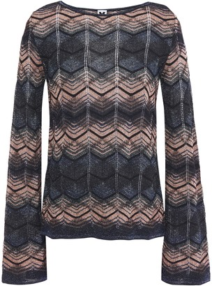 M Missoni Striped Metallic Crochet-knit Top