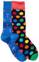 Happy Socks Combed Cotton Crew Socks - Pack of 2