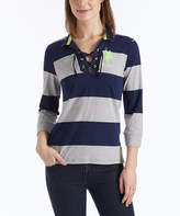 U.S. Polo Assn. Heather Gray & Navy Stripe Lace-Up Rugby Top