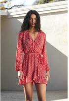 Dynamite Selina Ruffle Wrap Dress White Floral on Red